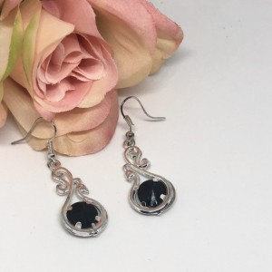Black/Silver Dangle Earrings