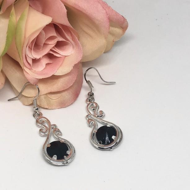 Black/Silver Dangle Earrings