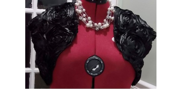 Black/Rosette Satin Bolero,Shrug Fully Lined,Short Sleeve