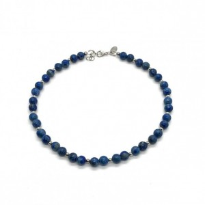 Denim Lapis Lazuli Necklace with Stainless Steel