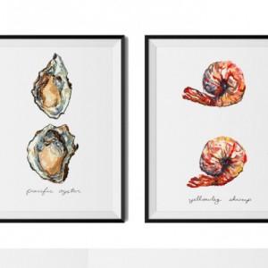 Any Two 8x10 Food Illustrations, Mix and Match, Kitchen Art, 2 Paintings, Art Print, Vegetable Print, Print Set, Food Art, Vegetable Art,