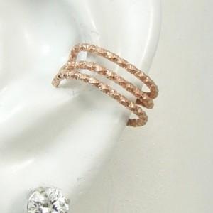 Ear Cuff, Rose Gold Non-pierced, Cartilage Wrap, Earring Fake Conch, No Piercing Earcuff Faux Pierced Hoop Triple Faceted Wire Band ETFWRGF