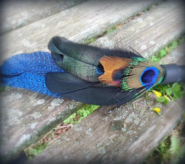 Small Smudge Fan-Black, One Crow-Raven Feather, Peacock Feather, Cruelty-Free, Leather Handle