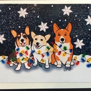 Set of 4 Corgi Christmas Cards, Pembroke Cardigan Corgi Christmas Card, Corgi New Years Card, Festive Corgi Winter Card, Funny Corgi Holiday Card