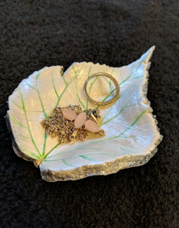 Handcrafted Clay Leaf Jewelry Trinket Dish