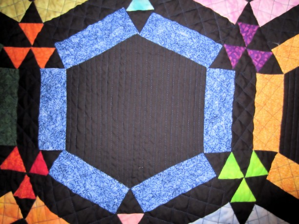 Amish Double Wedding Ring Quilt with Black Background Appraised ...