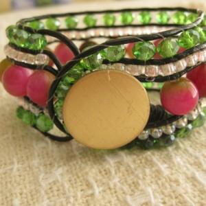 Leather beaded cuff bracelet in Rose and Green Wrap bracelet, designer look