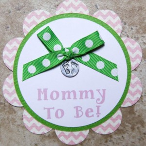 Baby footprint themed name tag button pins- pink chevron- (Quantity 4)