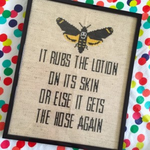 Silence of the Lambs Lotion Line Film Movie Cross Stitch 8 x 10 framed finished wall art MADE TO ORDER