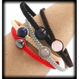 Gray Macrame Labradorite Bracelet