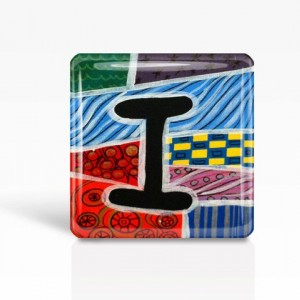 "ALPHABET Letter ""I"" - Glass MAGNET By Artist A.V.Apostle- 2""x 2"""