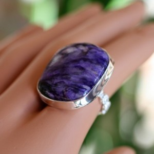 BEAUTIFUL RUSSIAN CHAROITE Sterling Silver Ring Size 5.5