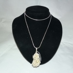 Selenite Desert Rose Wire-Wrapped Pendant Necklace