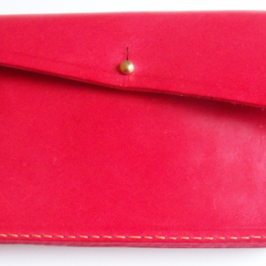 Red Leather Clutch with Small Matching Wallet