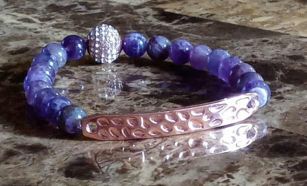 Energy Healing and Balance Amethyst Crystal Bracelet, Rose Gold Bar Link, Pave Crystal Ball and Purple Gemstones, Ladies Chaka Jewelry