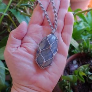 DUMORTIERITE macrame handmade necklace   crystal necklace   boho necklace   best friend gift   crystal healing
