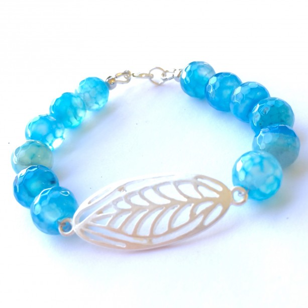 Blue agate leaf bracelet