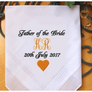 Embroidered Father of the Bride Wedding Handkerchief, Customized personalised personalized Hankies Wedding Gift