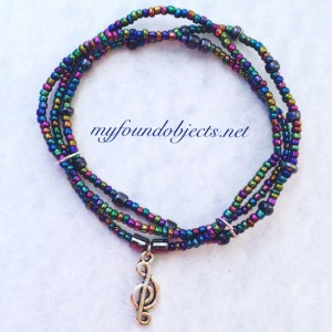 Beaded Stacking Bracelets, Music Note