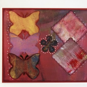 Three butterflies, a flower, & 2 scalloped squares