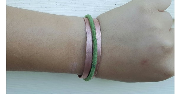 Copper hair-tie bracelet