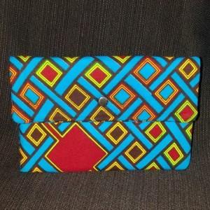 Clutch Wallet - Blue Squares