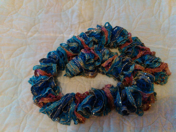 Navy blue turquoise molve scarf