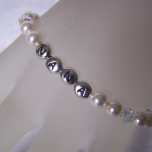 Nana Personalized Bracelet Swarovski Crystals and Pearls Custom Grandma