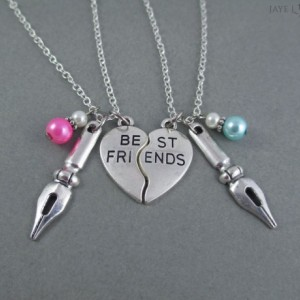 Silver Best Friends Pen Nib Charm Necklace Set - Writer Gift - Author Gift