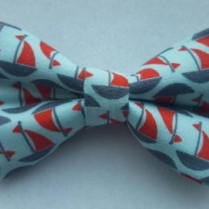 Sailboats pet bow tie