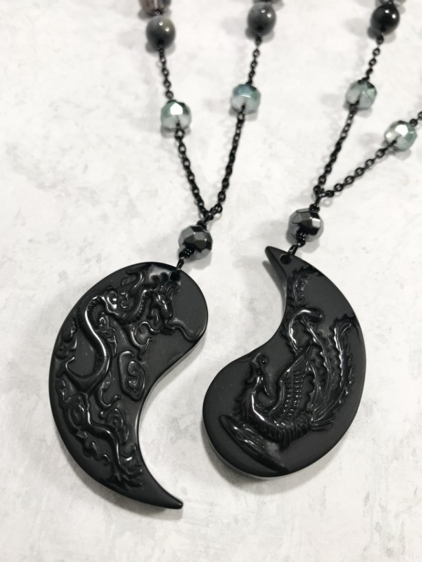 Dragon and Phoenix   carved obsidian friendship necklace set, partnership necklaces, Czech glass, eagle eye beads, yin and yang, gift ideas