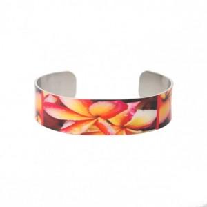 Photo cuff bracelet, aluminum, Fab Frangipani, fine art for wrist, HueDew