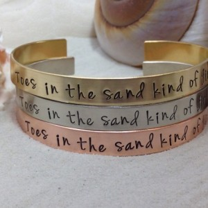 Toes In The Sand | Hand Stamped Beach Cuff | Nautical Jewelry | Personalized Gifts | Gift fo her | Friend Gift | Personalized |