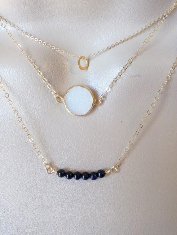 Triple Layered Necklace Set, Layering Necklaces, Eternity Necklace, Gold Druzy Necklace, White Druzy, Black Goldstone Necklace, Valentines
