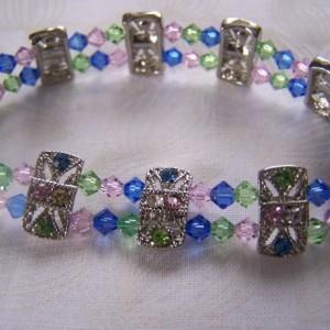 Bracelet Stretch Pastel Swarovski Crystal Slider