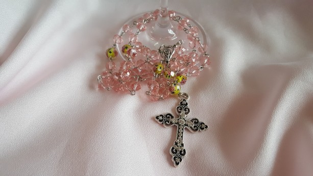 SOLD - Pink Floral Rosary Beads