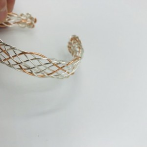 9 Strand Copper and Silver Braided Bracelet