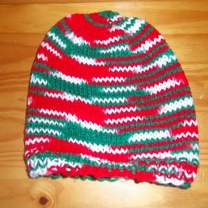 Hand Knit Adult Hat- Mistletoe