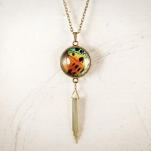 Real Butterfly Jewelry - Real Butterfly Necklace - Drop Pendant - Drop Necklace - Art Deco Jewelry - Real Insect Jewelry - Rainbow