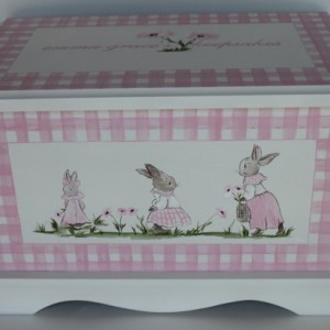 Pink Bunny Gingham - Keepsake Chest Memory Box - baby gift