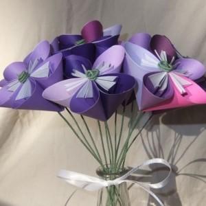 Purple Passion Origami Flower Bouquet in Glass Vase, Origami Flowers, Sympathy Flowers, Floral Arragment, Purple Flower Arragement