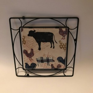 Custom Trivets-Ceramic Tile Trivet-Farm Animals-Black Metal Square Holder-Kitchen and Dining-Kitchenware-Personalized Trivet-Housewarming