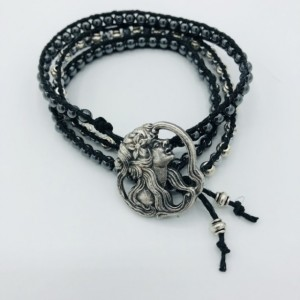 Black Hematite and Silver Wrap Bracelet