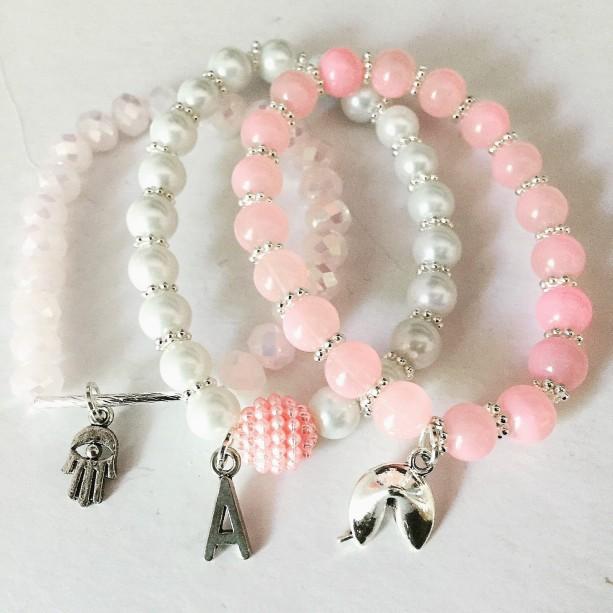 Stackable Bracelets, Pink Bracelets, Fortune Cookie Bracelets, Initials Bracelets, Hamsa Hand Bracelet, Mix and Match Bracelets,