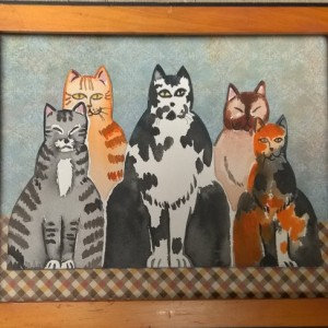 "ORIGINAL CAT PAINTING -  watercolor/collage -   ""Five Cats""  -  primitive style cat art - folk art cat painting"