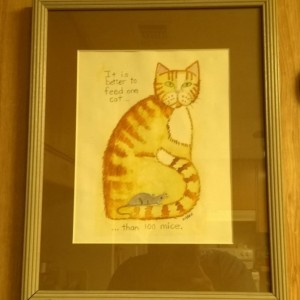 Framed CAT ART PRINT -in 11x14 inch  frame