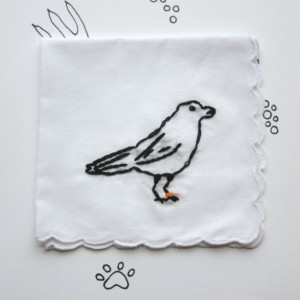 Embroidered Crow Hanky Urban Bird Art Ornithology Gift by wrenbirdarts on Etsy