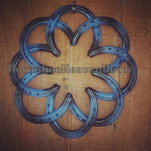 Rustic Horseshoe Wreath, Handmade Rustic country Wreath, Barn Wedding Decor, Country Blue home decor, wedding blue decor, Handmade homedecor