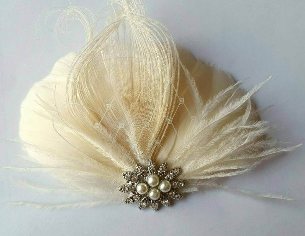 Wedding Hair Facsinator, Bridal Facsinator, Feather Fascinator, French Net, Rhinestones, Pearls, Bridesmaid Accessory, Ivory Fascinator