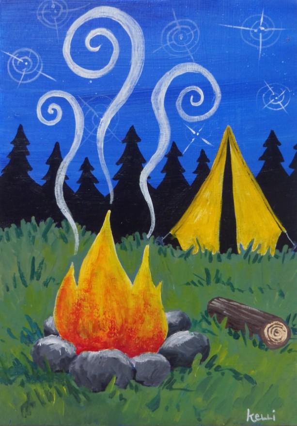 """Camping"" original painting"